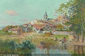 petitjean-edmond-marie-1844-19-vue-de-village-avec-lavandie