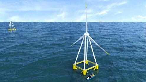 Un prototype d'éolienne flottante, présenté par Eolis début 2018. Quatre modèles de ce type vont être installés au large de Groix.