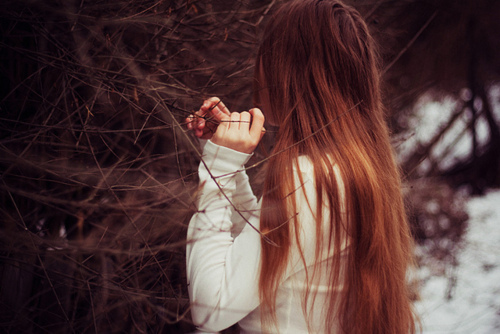 alone, girl, hair, hands, tree