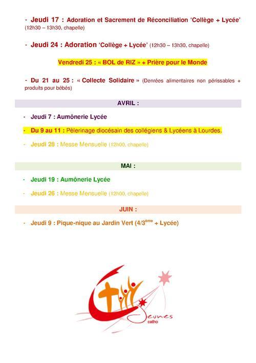 """Calendrier des rencontres """"Aumônerie Lycée"""""""