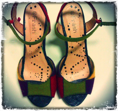 Chaussures Rayées Customisées Patchwork