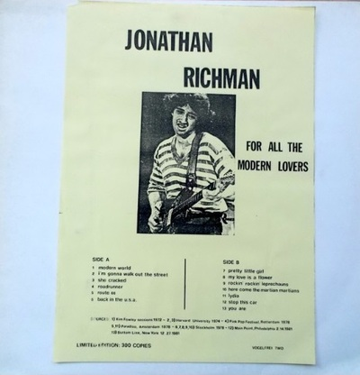 Petit cadeau de Dado : Jonathan Richman and the Modern Lovers - For all the Modern Lovers