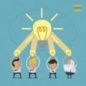 travail groupé : L'homme d'affaires de brainstorming, format vectoriel eps10