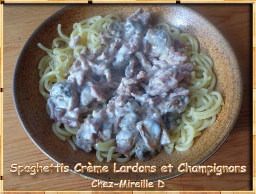 Spaghettis Crème Lardons Champignons