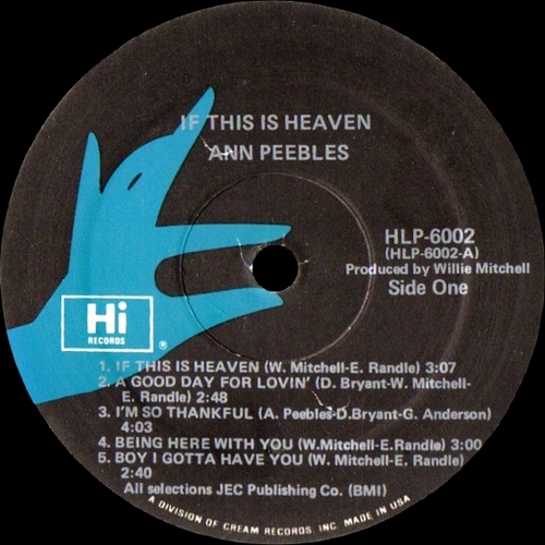"Ann Peebles : Album "" If This Is Heaven "" Hi Records HLP-6002 [ US ] en 1977"