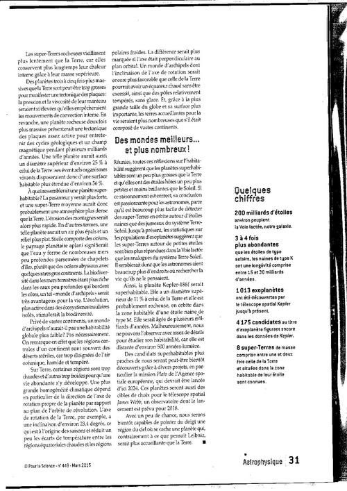 """Revue """"Pour la science"""" de mars 2015 La vie  dans l'univers"""