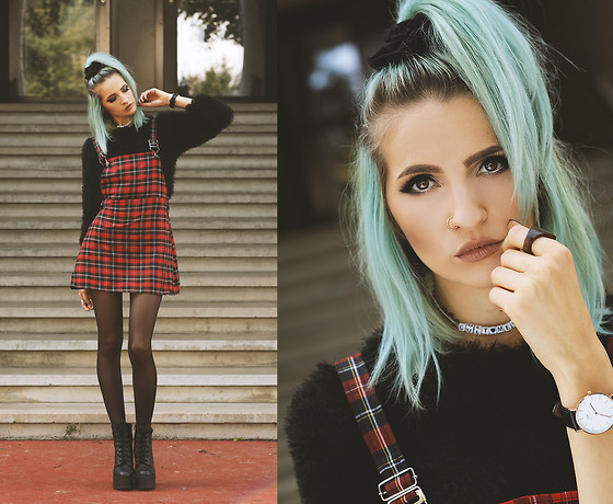 Gina Vadana - Happy Monday Suspender Dress, Ami Club Wear Boots, Daniel Wellington Watch, The Moon Cult Choker, Bauble Nation Faux Septum, 27jewelry Earrings - TARTAN LOVE || PART IV