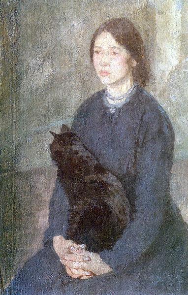 Tableau du samedi : Jeune femme tenant un chat noir