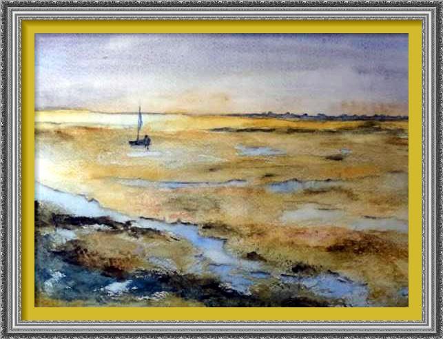Dessin et peinture - vidéo 2353 : Un bord de mer hivernal en couleur - peinture à l'aquarelle.