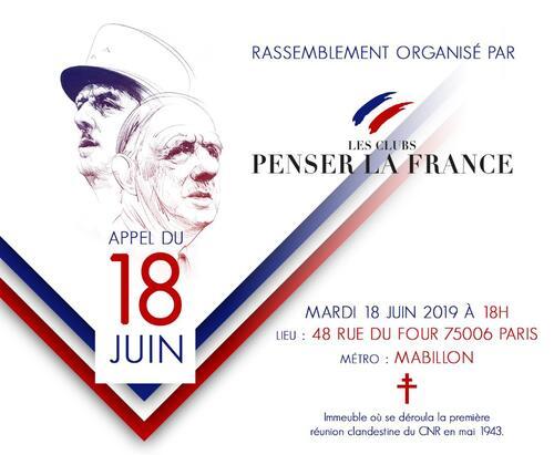 Mardi 18 JUIN 2019 : Manifestation « Appel du 18 juin » - PARIS