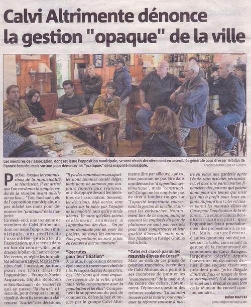 AG de Calvi Altrimente, article de Corse Matin