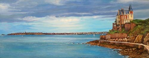 panoramique Dinard  st Malo huile sur toile 100x40