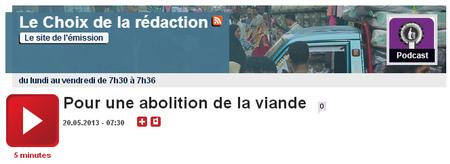 L'Abolition de la Viande sur France Culture