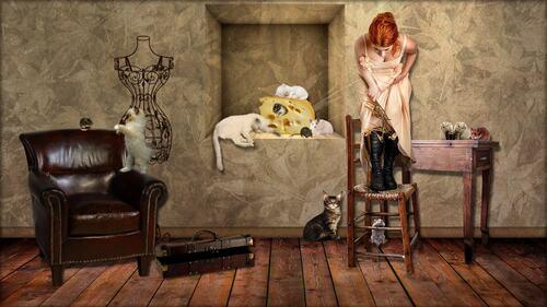 femme souris et chat