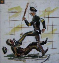 Un kapo frappe un déporté, au camp de Natzweiler-Struthoff. Dessin de Rudolph Haess