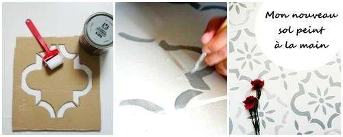 Peindre un carrelage style vieux carreaux ciment