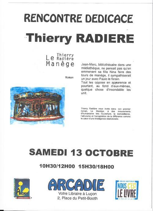En dédicace samedi 13 octobre prochain à la librairie Arcadie de Luçon