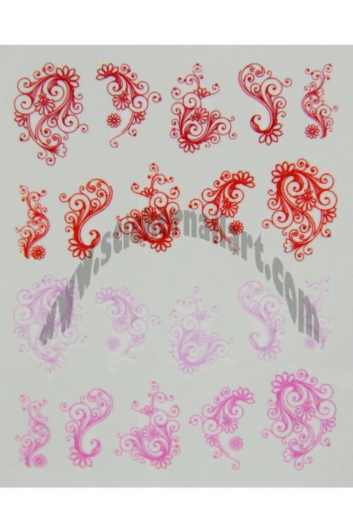 Water decal fleur rouge rose