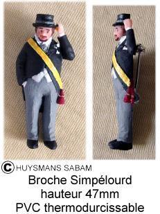 Diffusion du Patrimoine par l'objet artisanal: broche polychrome Simpélourd (personnage folklorique) - Arts et sculpture: sculpteur mouleur