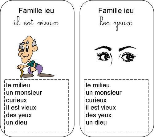 jeu de 7 familles : les sons ier ien ieu ion