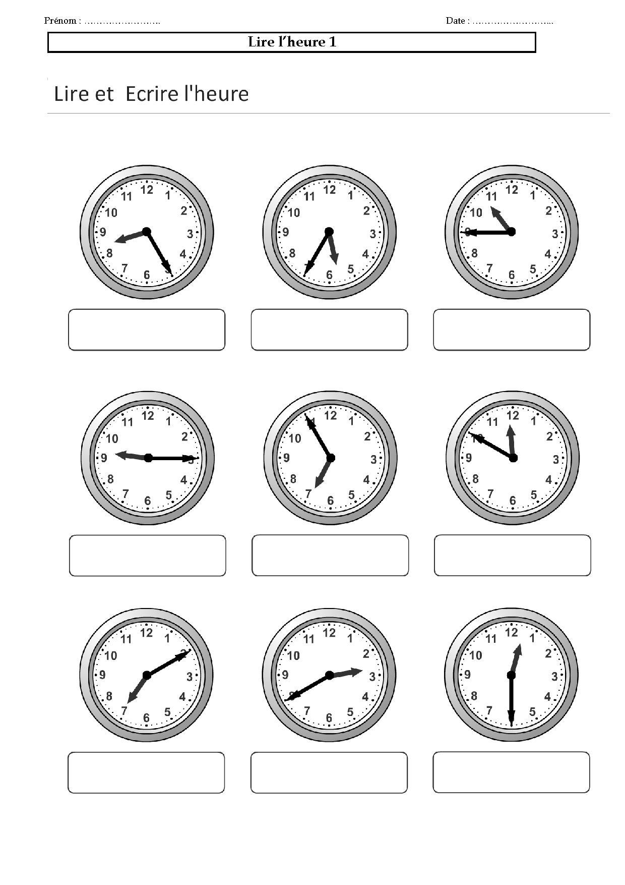 lire l'heure:ce1,ce2,cm,exercices l'heure,les minutes,horlog