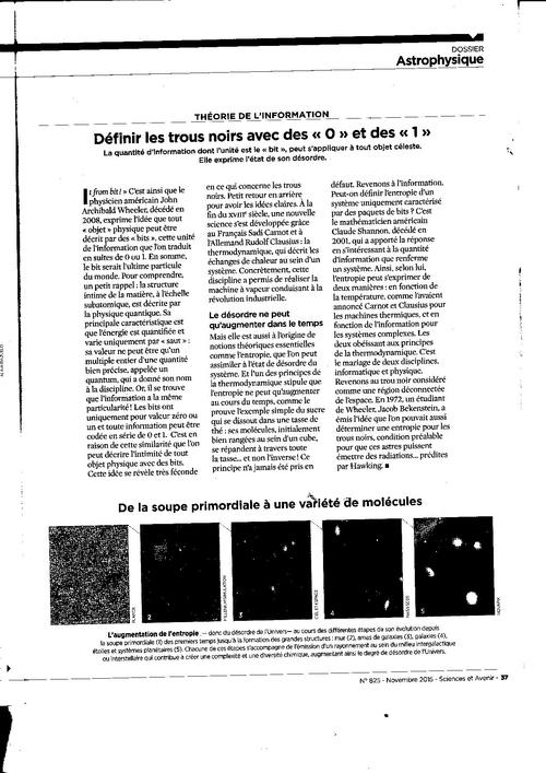 SCIENCES ET AVENIR novembre 2015 trous noirs par  StephenHAWKING