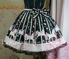 Lovely Candy Trojans Bow Lace Hem Black Lolita Skirt: