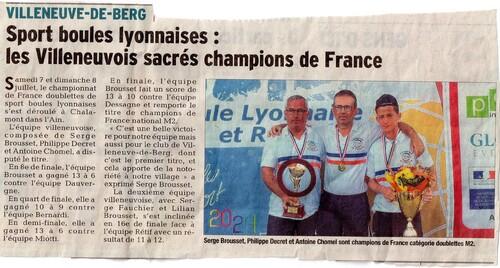 BROUSSET CHAMPION DE FRANCE en M2 / La Tribune et Dauphiné 11/12 JUILLET 2018