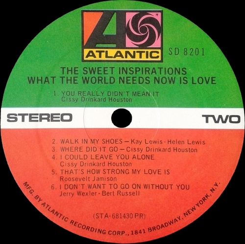 "The Sweet Inspirations : Album "" What The World Needs Now Is Love "" Atlantic Records SD 8201 [ US ]"