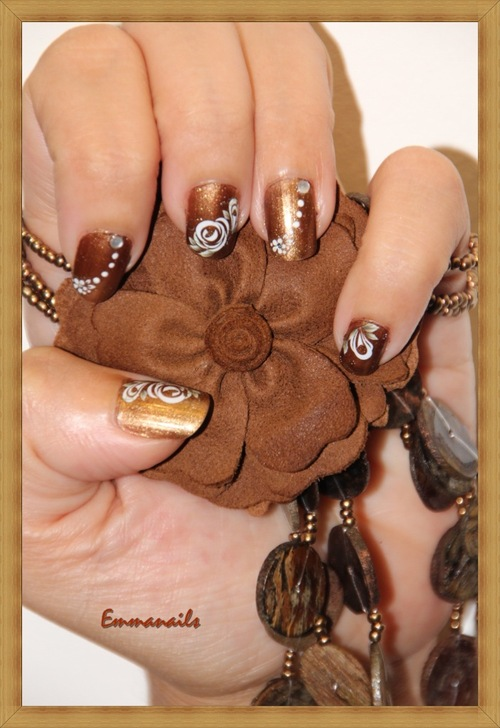 Gosh golden brown et Passion Nail Art Novembre