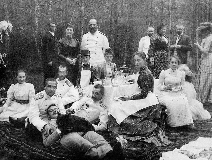 "imperial-russia: "" ""Grand Duchess Ella with her sister Alix and husband Sergei amongst friends "" "":"