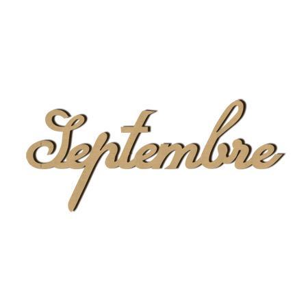 Mot en bois Septembre - 5,5 x 2,4 cm - Scrapmalin