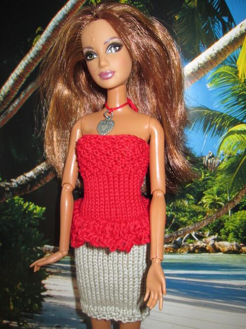 Top volanté et jupe pour barbie