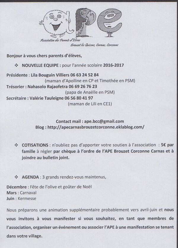 Manifestations et Infos adhésion APE