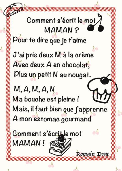 Poème Pour Maman Gourmande La Classe De Luccia