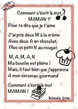 poème pour maman gourmande