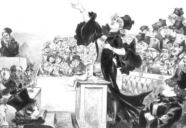 La femme avocate. Dessin d'Albert Robida. 1883