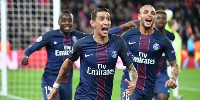 Football - Ligue des Champions - La joie d'Angel Di Maria, auteur de l'ouverture du score. (S. Mantey/L'Equipe)
