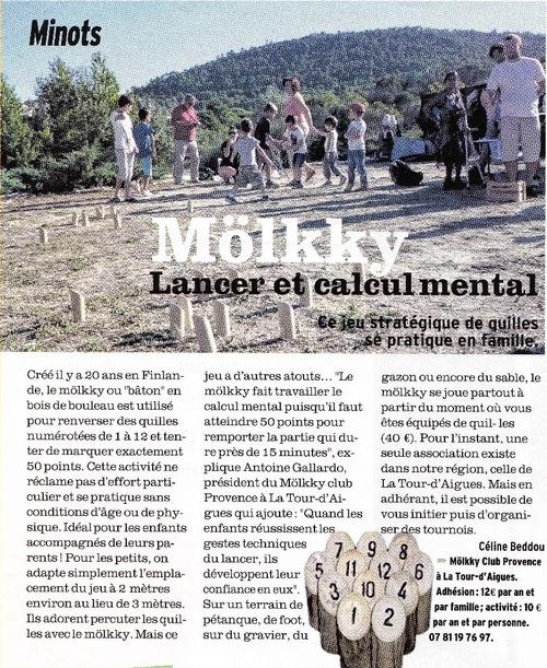 Vu dans la Presse - Version Fémina : Mölkky Club Provence