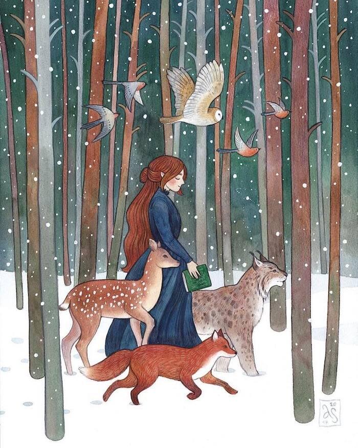 Charmantes illustrations à l'aquarelle de femmes et de leurs compagnons animaux