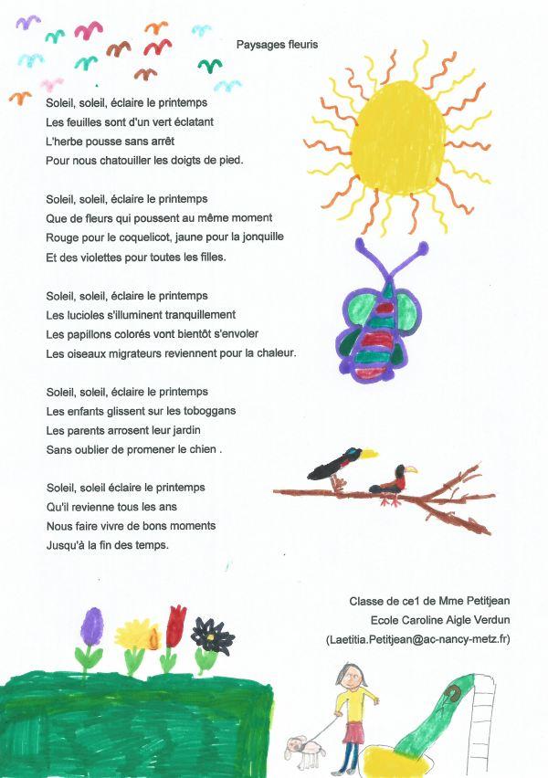 Concours De Poésie Du Salon Plume Ecole Primaire Caroline