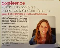 Conférence : 21 septembre Dys et difficultés scolaires