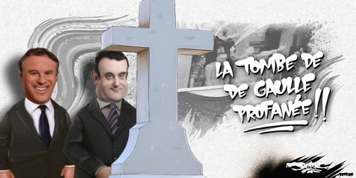 dessin de JERC mercredi 31 mai 2017 caricature Nicolas Dupont Aignan, Florian Philippot Ça fait un moment qu'il s'est retourné dans sa tombe www.facebook.com/jercdessin