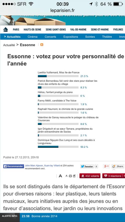 élu Personnalité de l'année 2013 en Esonne par le Parisien