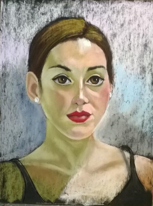 Lundi - Petit portrait aux pastels secs