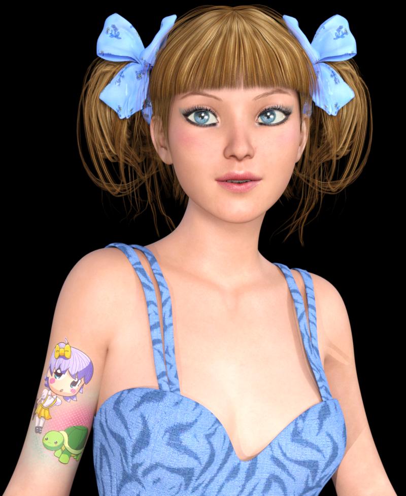 Tube de portrait fille manga tatouée