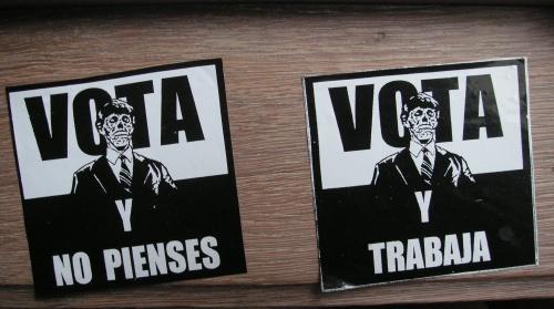 Vota y Trabaja y no pienses Granada 2012 anarchisme