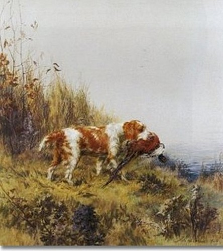maud-earl-welsh-springer-spaniel-with-pheasant-1924-approxi