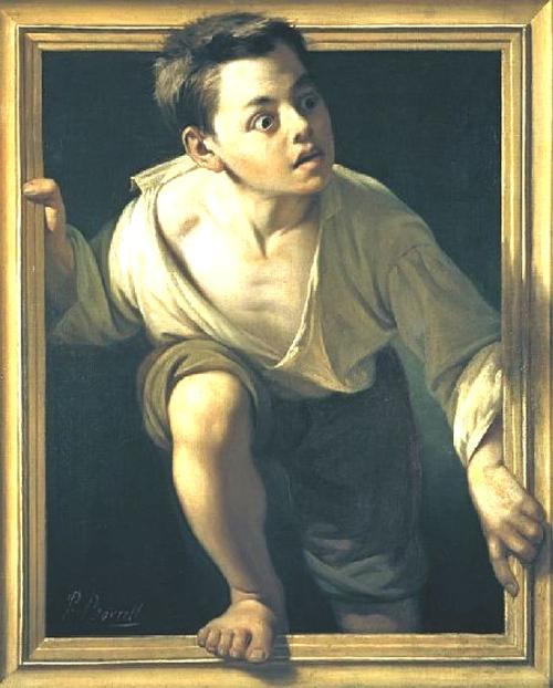 Jeune garçon sortant du tableau