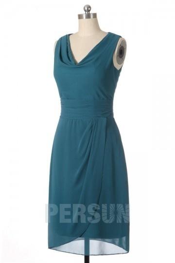 robe demoiselle d'honneur verte pin courte col bénitier